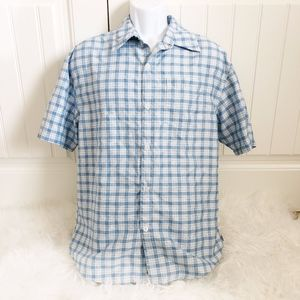 Hurley Blue Plaid Short Sleeve Button Down Shirt